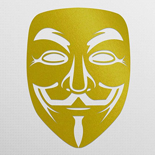 Anonymous Mask Gold Vinyl Decal | Anonymous Stickers V For Vendetta Sticker Guy Fawkes Sticker Hacker Mask Sticker Anonymous Decal | Premium Quality | 5.5-Inches | D015