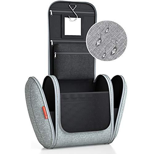 Kulturbeutel XXL [Design 2021] Kulturtasche für Männer und Frauen [7 Liter Stauraum], Kosmetiktasche für Mann und Frau, Waschtasche, Waschbeutel zum Aufhängen für Damen & Herren (Grau)