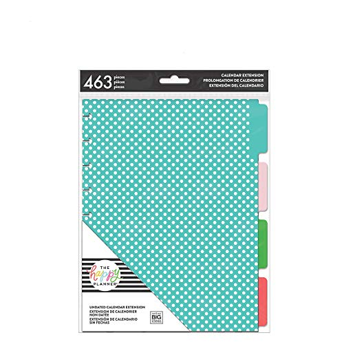 me & my BIG ideas 6 Month Calendar Extension - The Happy Planner Scrapbooking Supplies - 6 Pre-Punched Dividers - Undated Monthly & Weekly - 2 Sticker Sheets with Months and Numbers - Classic Size