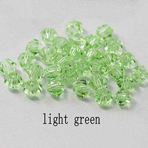 KTSM-Stop-T Spacer Beads, 400pcs 4mm Shiny Crystal Beads Beads Glass Beads Loose Spacer Beads for bracelet DIY Jewelry Making for Jewelry Making (Color : Light green, Item Diameter : 4mm)