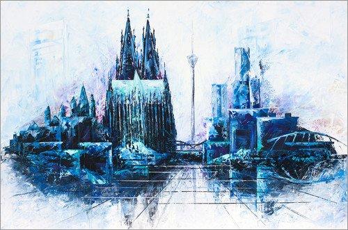 Posterlounge Acrylglasbild 90 x 60 cm: Kölner Dom Skyline blau von Renate Berghaus - Wandbild, Acryl Glasbild, Druck auf Acryl Glas Bild