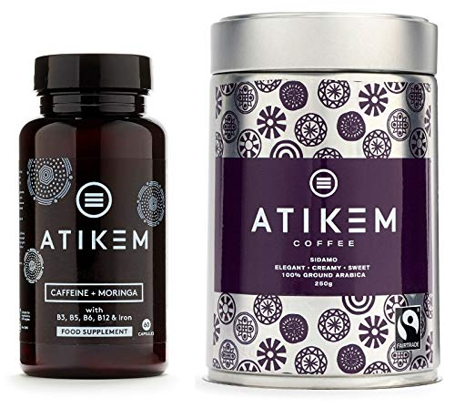 ATIKEM Caffeine & Moringa Pills | 200mg Caffeine | Natural Energy Boost Nootropic | Focus | Pre Workout | 60 Premium Vegan Gluten Free Capsules (Power Pack)