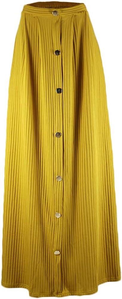 Women's Casual Button Front High Waist Maxi Long Skirt Soft