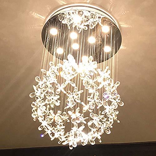 Candelabro candelabros grandes con forma de gota de lluvia en espiral moderno pétalo de cristal lámpara de techo de acero inoxidable montaje empotrado para lámpara colgante de escalera