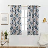 Anjee Blackout Curtains Panels with Blue Tropical Plants Print Design - All Season Thermal Insulated Grommet Top, 63 inch Length for Kitchen