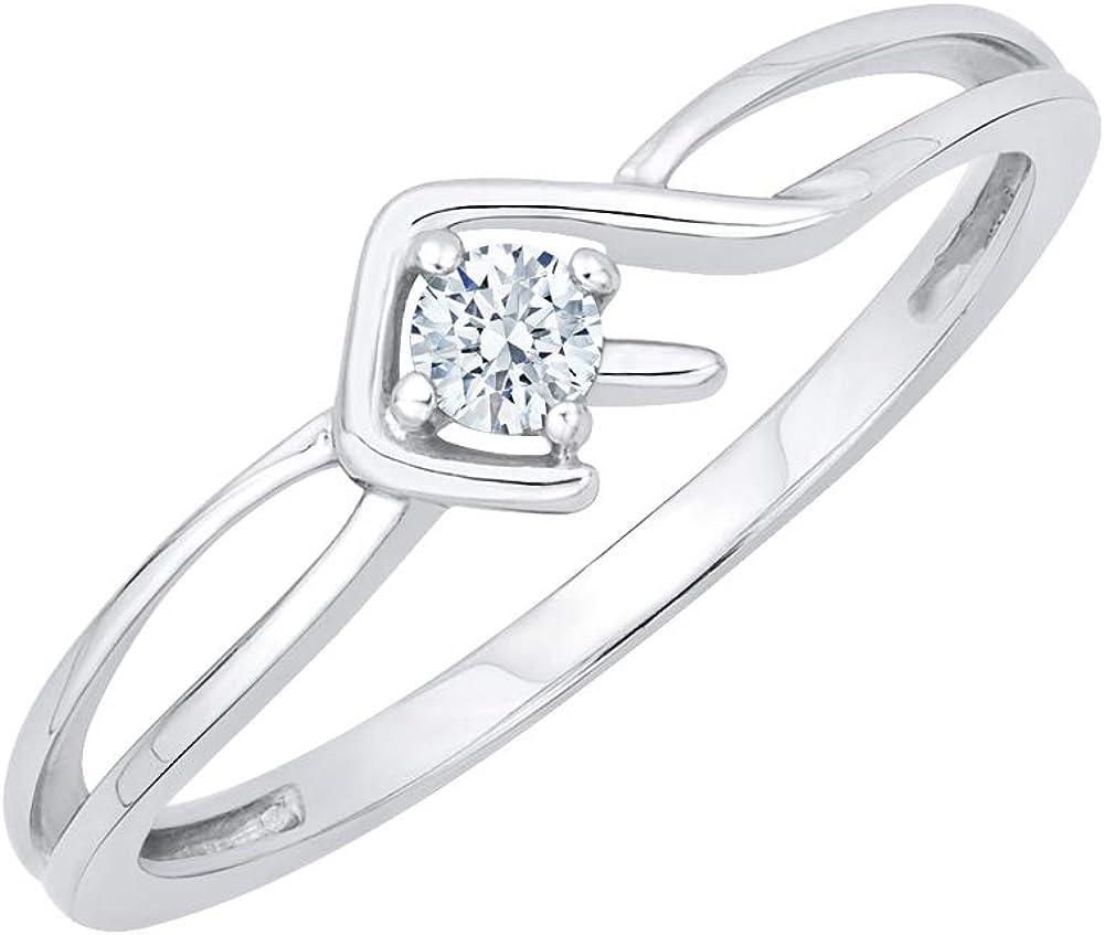 KATARINA Diamond Solitaire Fashion Ring Sterling 1 in Max 55% OFF Tampa Mall Silver 10