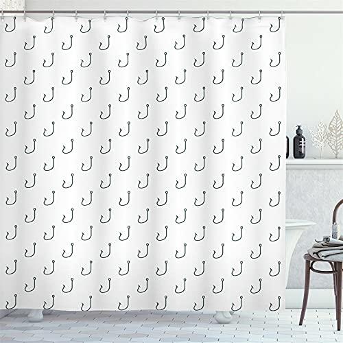 Gancho de pescado negro sobre fondo blanco Cortina de ducha baño cortina decoración impermeable tela
