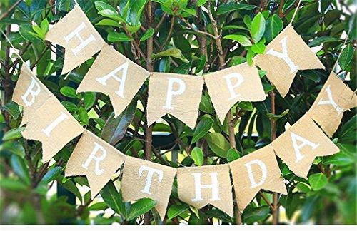 Gracelaza 13 pcs/3m 'Happy Birthday' fanions en Lin en Toile de Jute Drapeau bannière Fanion Tissu Guirlandes Drapeaux Triangle Double Face Chiffon Vintage Chic Décoration pour Fête d'anniversaire