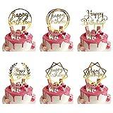 ZAWTR 6 Pezzi Gold Happy Birthday Cake Topper, Acrilico Torta Decorazione per Torte di Compleanno, Oro Cupcake Toppers per Bambini Adulti Compleanno Feste Glitter Party Decorations