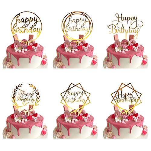 ZAWTR 6 Pezzi Gold Happy Birthday Cake Topper, Acrilico Torta Decorazione per Torte di Compleanno, Oro Cupcake Toppers per Bambini Adulti Compleanno Feste Glitter Party Decorations