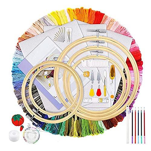 Errum Kit de iniciación de bordado de 100 hilos de colores, 5 piezas de bordado de bambú y kit de herramientas de punto de cruz para principiantes