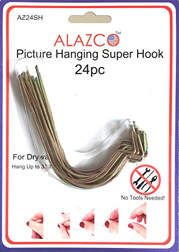 24pc Set ALAZCO Super Hooks - Hang Pictures Mirrors Clocks Wall Art Without Any Tool, Hammer, Nails or Drilling! Excellent Quality!