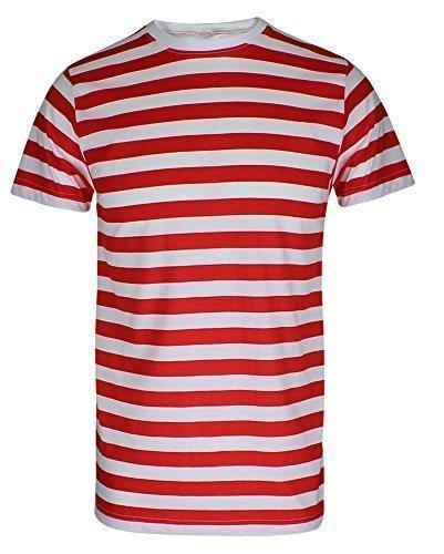 Para hombre Boys rojo y blanco camiseta de rayas gorro gafas Fancy Dress (se vende por separado o como un conjunto) T-Shirt Only Hombre L ( 102 cm Pecho)