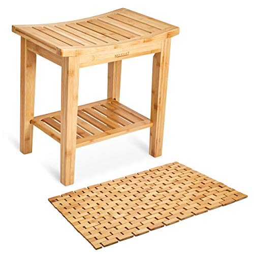 Morvat Bamboo Shower Bench and Bamboo Shower Mat, Shower Seat, Shower Chair, Tub Bench, Bathroom...