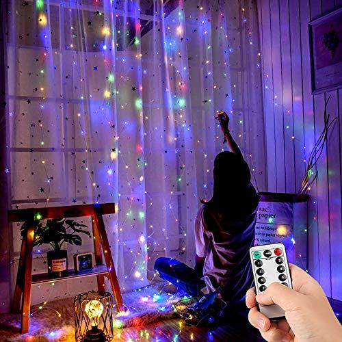 Luci per Tende, 3m*3m Tenda Luminosa con 8 Modalità 300 LED IP67 Impermeabile Luci scintillanti decorazioni interne ed esterne per Natale,Matrimonio,Camera da letto,Giardino (multicolore)