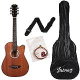 Juârez JRZ38C/MAH 6 Strings Acoustic Guitar 38 Inch Cutaway, Right Handed, Mahogany with Bag, Strings, Picks and Strap