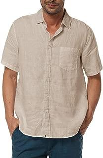 Pengfei Men's Short Sleeve Shirts Linen Cotton Button Up Casual Summer Beach Tops Classic Fit Shirt