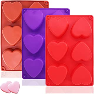 3 Packs 6 Cavities Heart Shaped Silicone Mold (Purple, Red, Brown),SourceTon Baking Mold Cake Pan, Biscuit Chocolate Mold,...
