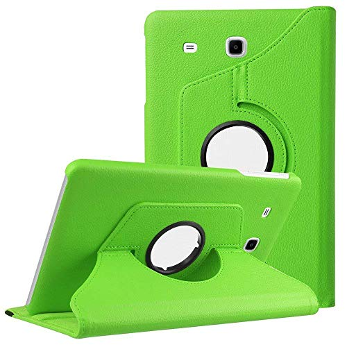 360 Rotating Smart Case PU Leather Cover for Samsung Galaxy Tab E 9.6 T560 T561 SM-T560 Folding Folio Stand Tablet Case funda-Green