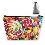 Rainbow Lollipop Candy Sac de rangement trapézoïdal multifonctionnel Sac de toilette Fermeture à glissière Recevez un sac