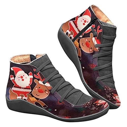 2019 Zapatos Invierno Mujer Botas de Nieve Casual Calzado Piel Forradas Calientes Planas Outdoor Boots Antideslizante Zapatillas para Mujer Zapatos de punta redonda con cordones de cuero casual