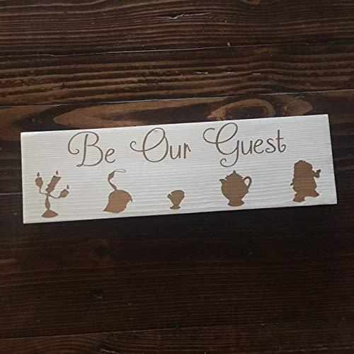 Rea66de-wood Holzschild Be Our Guest (englischsprachig), Disney-inspiriertes Holzschild, handbemalt
