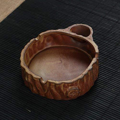 Giow Aschenbecher Round Pottery Creative Stump (13 * 11 * 3,5 cm) Rollsnownow