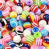 'N/A' 300 perline colorate da infilare con filo elastico da 100 m, in legno, colorate, rotonde, con nylon, arcobaleno, per bracciali, gioielli, fai da te, regalo per bambini e ragazze
