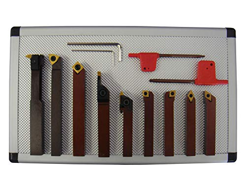 PAULIMOT Drehmeißel-Set mit Wendeplatten, 10 mm, 9-teilig