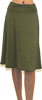Women's USA Basic Fold-Over A-Line Midi Knee Length Flare Skirt - Made in USA