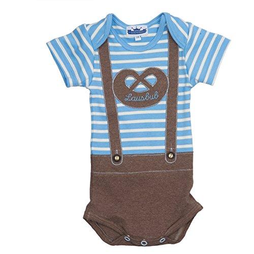 Bavariashop Babybody Lederhose Lausbub Kurzarmbody für Jungen, gestreift mit Breze, EIN tolles Geschenk zur Geburt! Größe 86