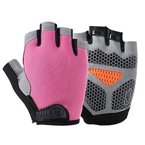 Guantes de Fitness de Medio Dedo para Hombres y Mujeres, Guantes de Entrenamiento con Barra Horizontal Antideslizantes Transpirables para Levantamiento de Pesas con Mancuernas-Type B-Pink-3-XL