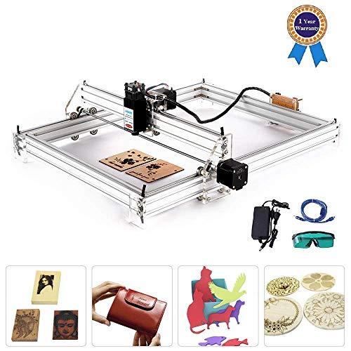 Machine de gravure laser, bois cnc routeur, marquage d'image de logo d'imprimante de DIY, Imprimante de bureau de 2 axes pour le plastique en bois en cuir, 50 * 40cm, 7000MW