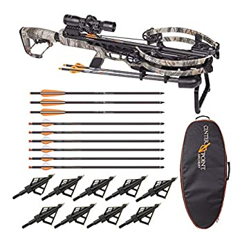 CenterPoint Archery CP400 400 FPS Crossbow Hunter s Bundle with Case Nine Arrows and Broadheads  6 Items