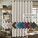 wood and glass panel main door - H.VERSAILTEX Room Darkening Linen Curtain for Bedroom/Living Room Extra Wide Blackout Curtains 100 x 84 Inches for Patio Glass Door, Primitive Textured Thick Linen Burlap Look Fabric, Ivory
