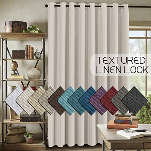 H.VERSAILTEX Room Darkening Linen Curtain for Bedroom / Living Room Extra Wide Blackout Curtains 100 x 84 Inches for Patio Glass Door, Primitive Textured Thick Linen Burlap Look Fabric, Ivory