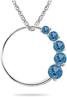 The circle journey pendant is a promise of eternal love and togetherness. Pretty pendant has AA quality Swiss blue Topaz gemstones. Chain included.