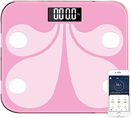 TOPBATHY Bluetooth Body Fat Scale Digital Health Analyzer Smart Weight Measurement Scale - not Included Battery (Pink)