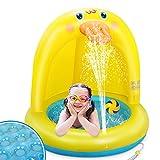 LETOMY Piscinas para Niños, Piscina Inflable para Bebés, Hinchable Infantil, Pequeña Pato Amarillo Splash Pool para Niños, Aspersor de Juego con Fondo de Burbuja Inflable de Doble Capa