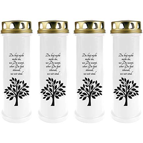 HScandle Grabkerze - 4er Pack - (Weiß) Grablicht ca. 4 Tage Brenndauer je Kerze - Motiv: Baum