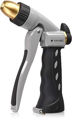Navaris Garden Hose Nozzle Spray - High Pressure Metal Water Gun Sprinkler with Ergonomic Trigger for Lawn, Gardening, Car Washing, Watering Plants