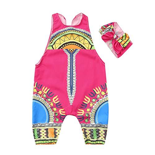 YWLINK Conjuntos NiñA,Verano Estilo Nacional Ropa Infantil del Mono del Mameluco del Estampado Africano Sin Mangas+Banda De Pelo Conjunto De 2 Piezas La Moda Vestido De Fiesta(Rojo,6-7 años/130)