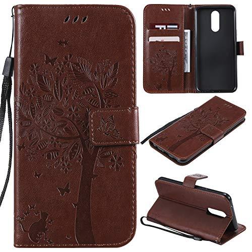Nancen Compatible with Handyhülle LG K40 / K12 Plus Hülle, Flip-Hülle Handytasche - Standfunktion Brieftasche & Kartenfächern - Baum & Katze - Light Brown