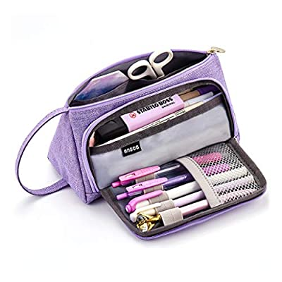 EASTHILL Large Capacity Colored Linen Storage Pouch Marker Pen Pencil Case Multi-slot Stationery Bag Holder For Middle High School Office College Student Girl Adult Teen Simple Gift Purple by ANGOO