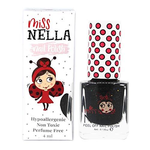 Miss Nella SURPRISE PARTY- Spezieller schwarz Nagellack mit Glitzer für Kinder, Peel-Off-Formel,...