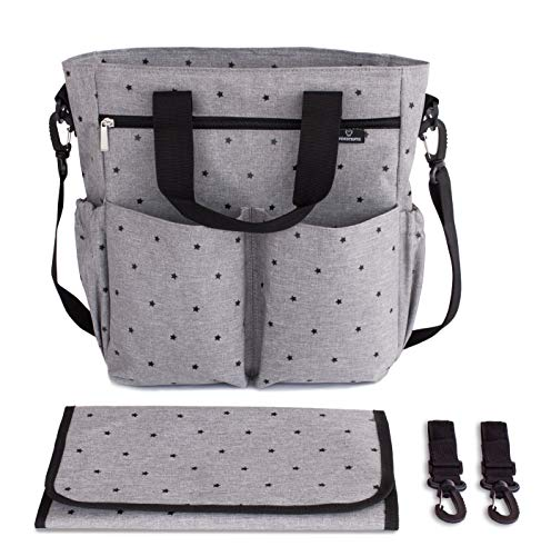 minki micos. Kinderwagentasche mit Sternendruck Grau. Wickeltasche. Einschließlich Wickelunterlage, Universalbefestigungshaken und Schultergurt