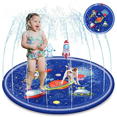 LORDZMIX Splash Pad para niños pequeños bebé juguete rociador 68 pulgadas, verano al aire libre juguete de agua regalos para 1 3 5 7 9 11 años de edad, niños niñas niños patio juegos de agua Splash Wading piscina rociadores Mat