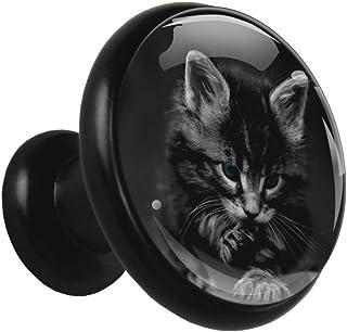 Gato negro lindo Pomo de cajón redondo de metal sólido con vidrio de cristal para la puerta del gabinete de la cocina apar...