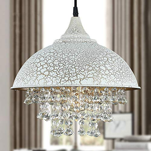BAYCHEER Lampe Industrie Vintage Kristall Deckenleuchte Hängeleuchter mit 49 Kristal Ketten (Weiss)