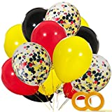 Mouse Color Balloons 40 Pack, 12 Inch Red Black Yellow Latex Balloons with Confetti Balloon for Baby Shower Birthday Party Decorations Supplies with Ribbon